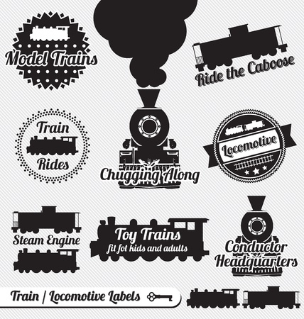 Set: Train and Locomotive Labels and Icons Vector