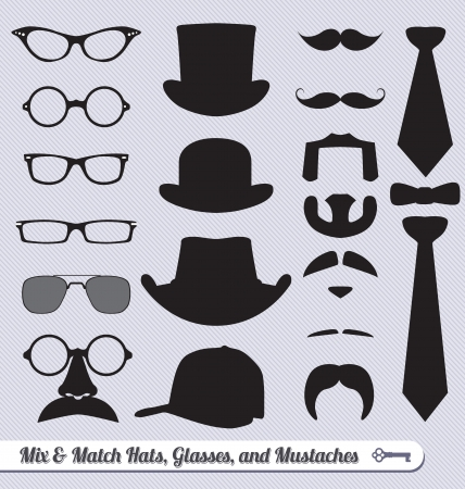 hair bow: Vector Set: Mustache Glasses Hats and Ties Mix and Match Illustration