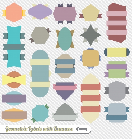 Vector Set: Colorful Geometric Ribbon Banners Stock Vector - 16230939