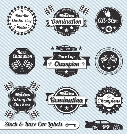 adrenalina: Vector set: vintage Etiquetas carreras de coches e Iconos