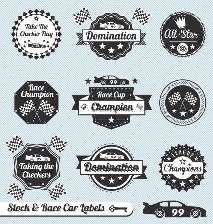motor race: Vector Set: Vintage Racing Car Labels en pictogrammen Stock Illustratie