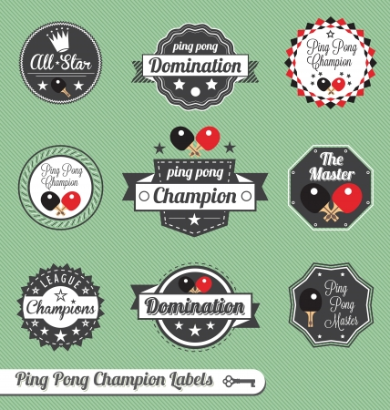 table tennis  Champion Labels Stock Vector - 16230943