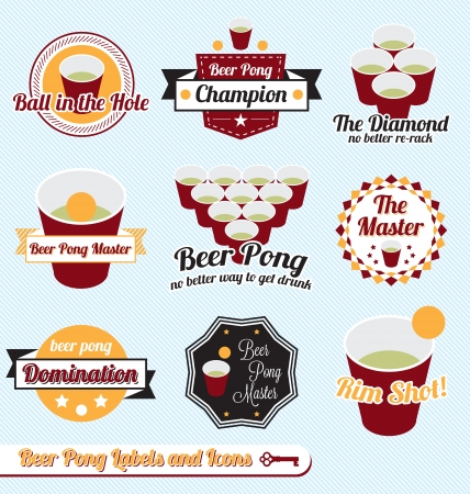 Vector Set: Beer Pong Champion Labels and Icons Vector