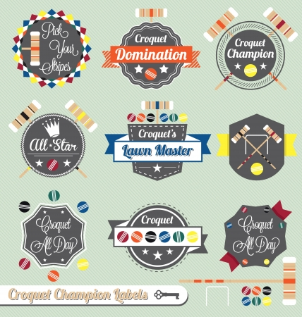 Vector Set: Croquet Champion Labels and Icons Vector