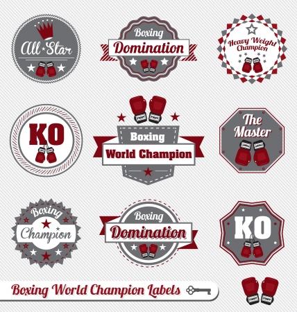 guantes de boxeo: Vector set: vintage Etiquetas campeón de boxeo e Iconos