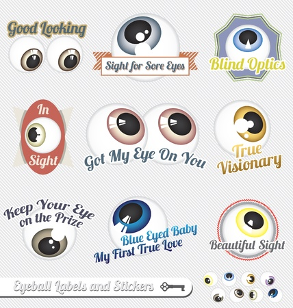 Vector Set: Eyeball and Tagline Labels and Icons Vector