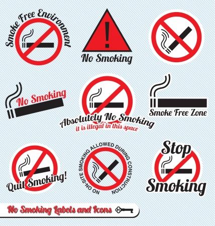 Vector Set: No Smoking Sign Labels and Icons