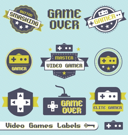 Vector Set: Vintage Video Game Labels and Icons Vector
