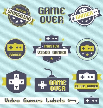 játék: Vektor meg: vintage Video Game címkék és ikonok