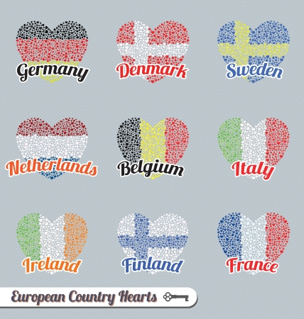 Vector Set: European Flag Heart Sign Labels and Icons Vector