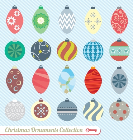 christmas greeting: Vector Set: Vintage Christmas Ornaments