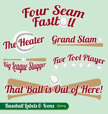 fastball: Set vectorial: Baseball Bat and Ball etiquetas e iconos Vectores