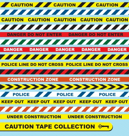 barrier tape: Vector Set: Caution Tape Labels and Banners Illustration
