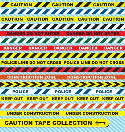 Zestaw Vector: Etykiety Taśmy ostrzegawcze i banery