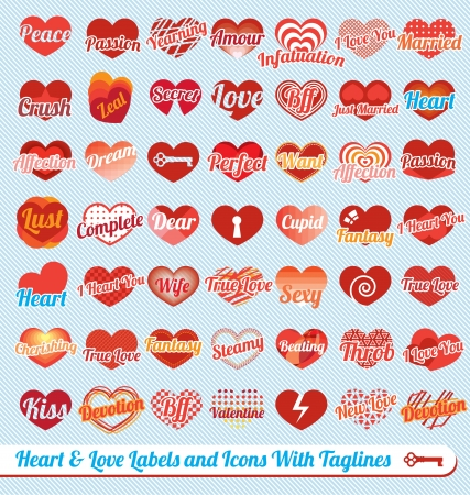 Vector Set: Hearts with Tag Lines Labels and Icons Stock Vector - 16428974