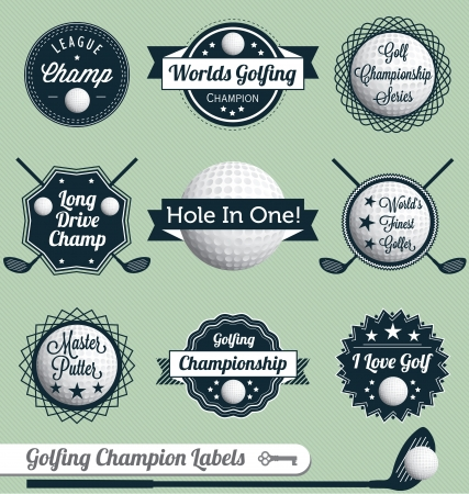 golf swings: Vector Set: Golfing Labels and Icons