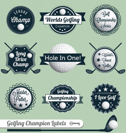 pelota de golf: Vector Set: Las etiquetas e iconos de Golf Vectores