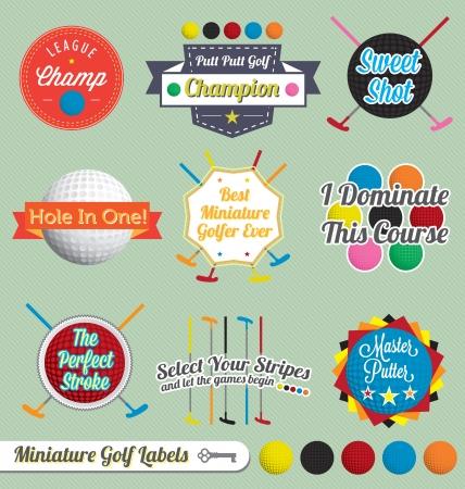 ベクトルを設定: ミニチュア ゴルフのラベルとアイコン