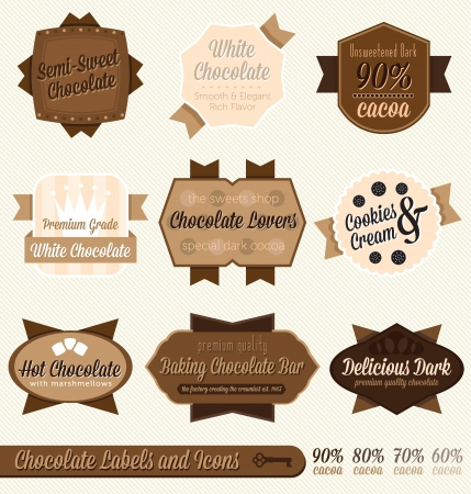 barra de chocolate: Vector Establecer etiquetas chocolate e Iconos