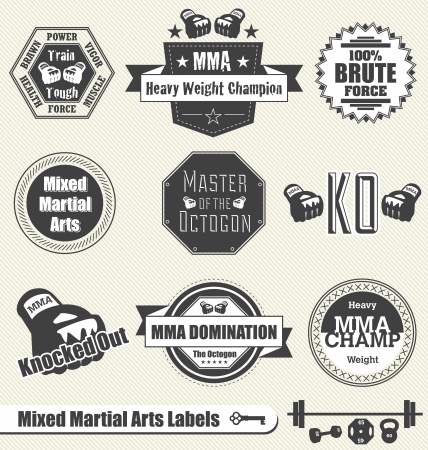 Vector Set: Mixed Martial Arts Labels and Icons Çizim