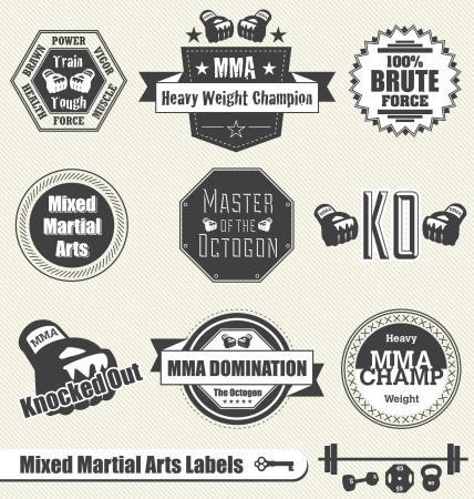 Zestaw Vector: Mixed Martial Arts Etykiety i ikony