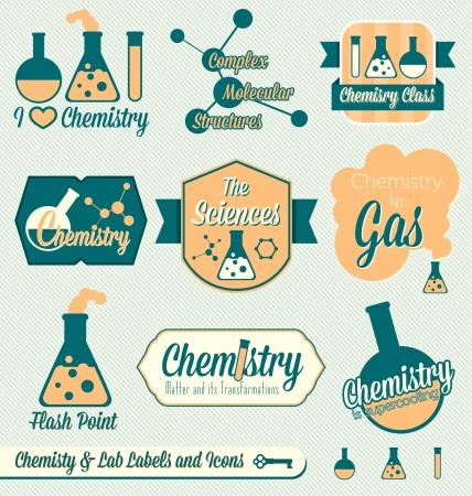 벡터 설정 : 빈티지 화학 클래스 레이블 및 아이콘 일러스트