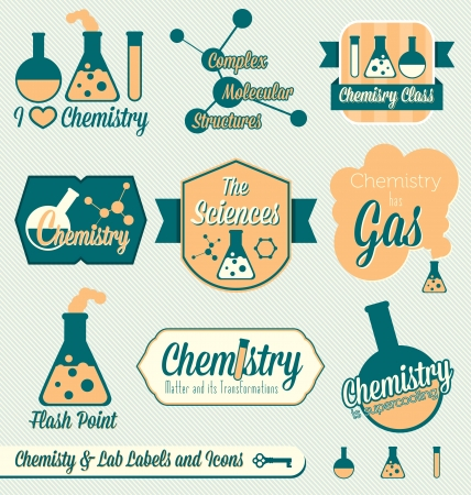 examenes de laboratorio: Vector Set: Vintage Labels clase de qu�mica e Iconos Vectores