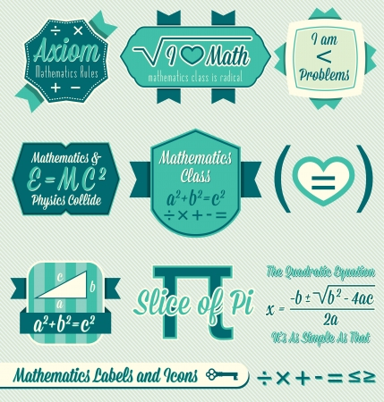 school class: Vector Set: Vintage Math Class Labels and Icons