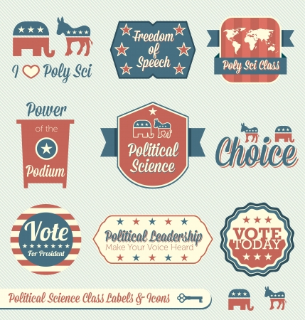 education policy: Vector Set: Vintage Political Science Class Labels and Icons