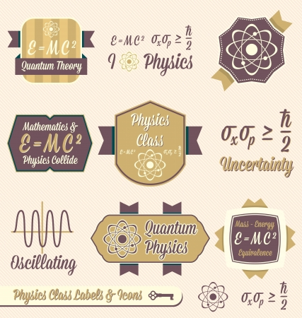 Vector Set: Vintage Physics Class Labels and Icons Vector