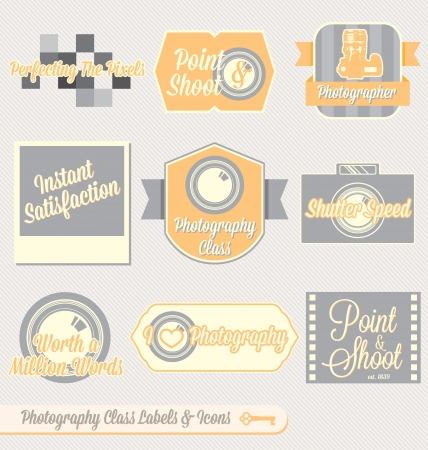 back to camera: Vector Set: Vintage Photography Class Labels and Icons