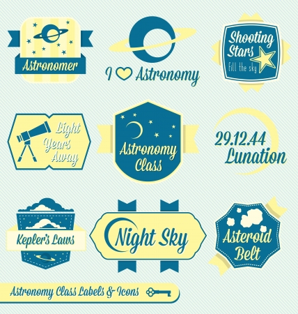 Vector Set: Vintage Astronomy Class Labels and Icons Stock Vector - 16675803