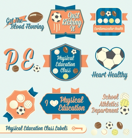educacion fisica: Vector Set: Vintage Labels clase de educaci�n f�sica e Iconos