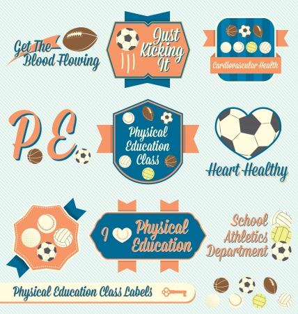 educacion fisica: Vector Set: Vintage Labels clase de educación física e Iconos
