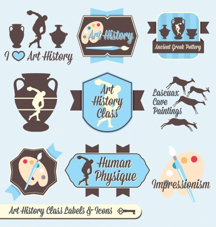 school class:  Set: Vintage Art History Class Labels and Icons Illustration