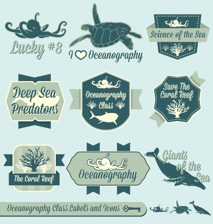 Set: Vintage Oceanography Class Labels and Icons Vector