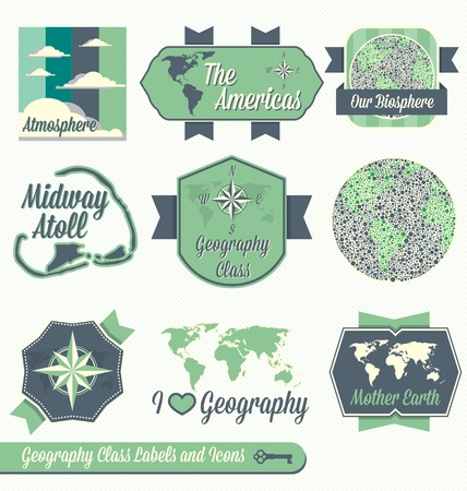 geography: Set: Vintage Geography Class Labels and Icons