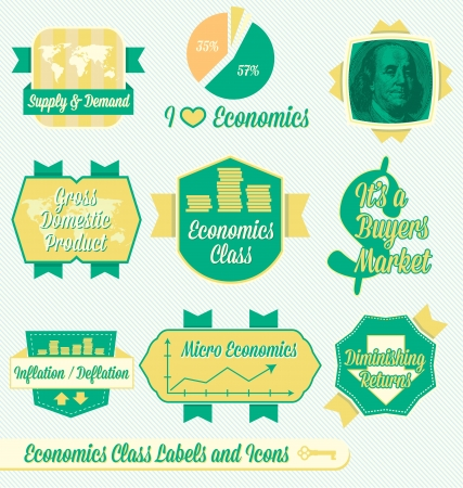Set: Vintage Economics Class Labels and Icons Vector