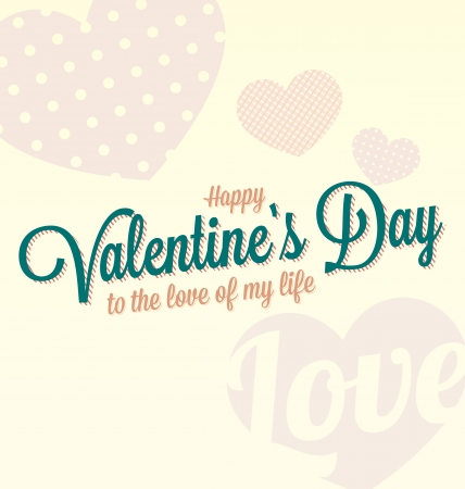 Vintage Happy Valentine s Day Card and Background Vector