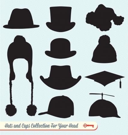 Cappelli e Caps Silhouettes Collection Archivio Fotografico - 17057607