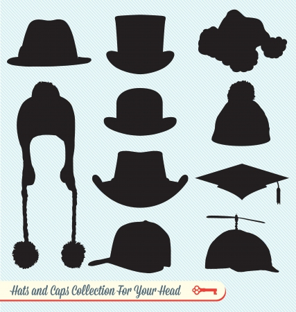 Hoeden en Petten Silhouetten Collectie Stock Illustratie