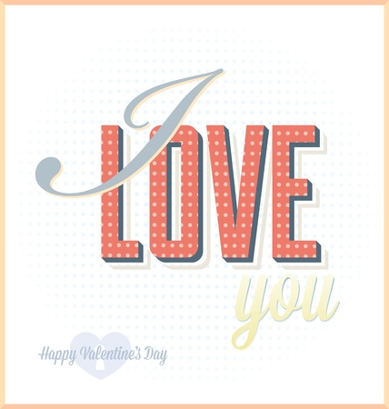 Vintage I Love You Card for Valentine s Day Stock Vector - 17096745