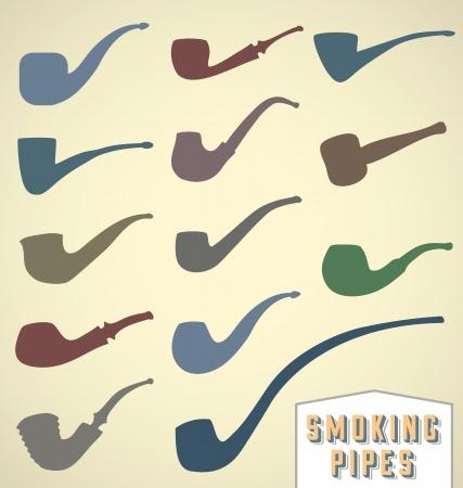 pipe smoking: Set Vintage Smoking Pipes Illustration