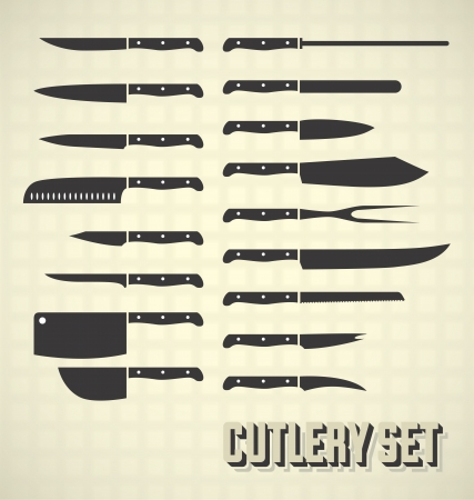 meat knife: Kitchen Knives and Cutlery Set Illustration
