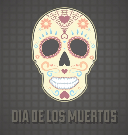 Day of the Dead Painted Skull Card and Wallpaper Vector