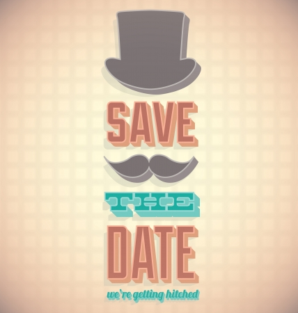date: Vintage Save the Date Wedding Card Illustration
