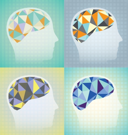 lateral view: Abstract Brain Activity Graphics Illustration