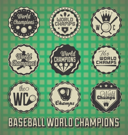 Set: Baseball World Champion Labels and Icons Illustration