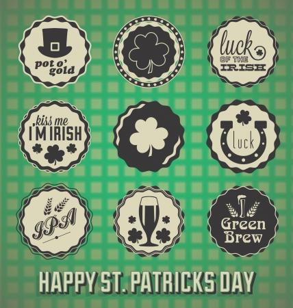 Zestaw: etykiety Retro St Patricks Day i ikony