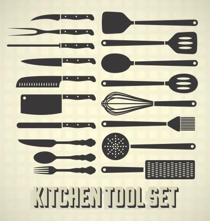 kitchen utensils: Utensilios de cocina set Vectores